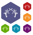 Paintball guns icons set vector image