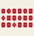 set of red label templates different shapes vector image
