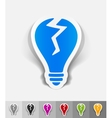 realistic design element broken light bulb vector image