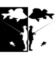silhouettes of fishermen vector image vector image