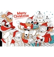 Doodle of Merry Christmas Holiday with Santa Claus vector image