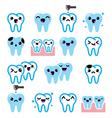 Kawaii Tooth cute teeth characters - icon vector image