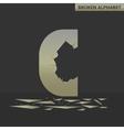 Letter C Broken mirror vector image