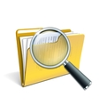 Magnifying glass over the yellow folder vector image