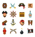 Pirate icons set flat vector image
