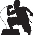 rock singer silhouette vector image