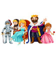 fairytale characters with king and queen vector image