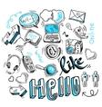 Doodle social media signs vector image