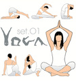 yoga silhouettes vector image vector image