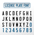 License plate font letters with embosse vector image
