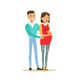 beautiful young couple expecting baby colorful vector image
