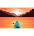 Canoe on Lake Sunset vector image