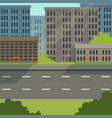 city street with road and city buildings modern vector image