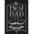 Happy Fathers Day Lettering on chalkboard vector image