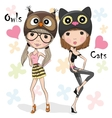 Two Cute Girls vector image