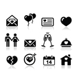 Love Valentine black icon set vector image vector image