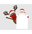 Santa Claus and reindeer with a blank white vector image
