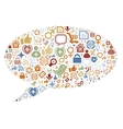 Social media icons texture in talk bubble shape vector image