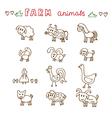 Set of hand drawn farm animals Sheep cow horse pig vector image
