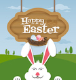 Happy easter and smiling bunny background vector image