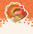 Turkey bird for Thanksgiving day holiday card for vector image