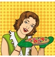 Woman cooking pizza at home vector image