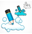 Pencil and cloud speech bubble vector image
