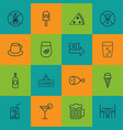 set of 16 cafe icons includes fried poultry vector image