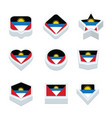 angola flags icons and button set nine styles vector image