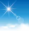 Blue sky with sunlight and clouds vector image vector image