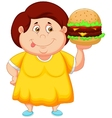 Fat girl cartoon smiling and ready to eat a big ha vector image vector image