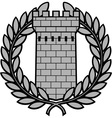ancient tower with laurel wreath vector image