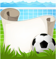 Soccer ball with paper scroll vector image