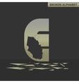 Letter E Broken mirror vector image
