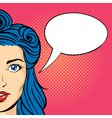 Pop art of young woman with empty speech bubble vector image