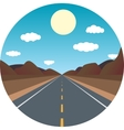 straight road ahead in the afternoon in the vector image