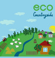 village landscape eco countryside flat vector image