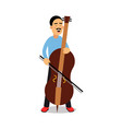 young man playing cello cartoon character cellist vector image
