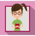 girl glasses smile book student frame dot shadow vector image