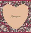 floral doodle ethnic pattern heart frame vinous vector image