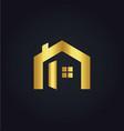 house icon gold logo vector image vector image