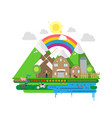farm life country house windmill fruits and vector image