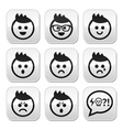 Man or boy with spiky hair faces buttons set vector image vector image