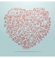 Big heart with decorative details on light vector image