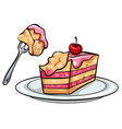 A plate with a cake vector image