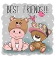 Cute cartoon baby and Teddy Bear vector image