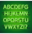 Glowing Neon Lime Green Alphabet vector image