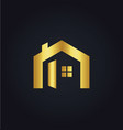 house icon gold logo vector image
