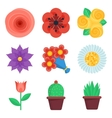 Set of flat flowers icons vector image
