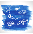 Set of ocean decoration on watercolor background vector image